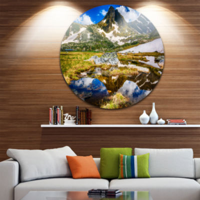 Design Art Stunning Mountains in Rila Lakes District Ultra Vibrant Landscape Metal Circle Wall Art