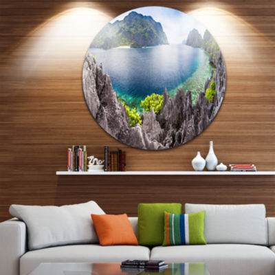 Design Art The Lagoon Panorama Ultra Vibrant Landscape Metal Circle Wall Art
