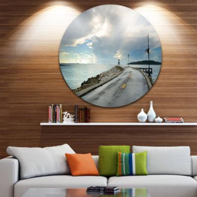 Design Art Vintage Pathway into the Ocean Ultra Vibrant Sea Bridge Metal Circle Wall Art