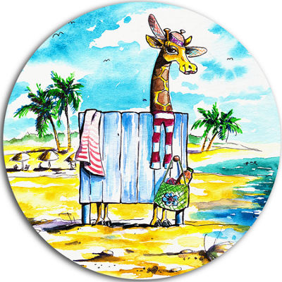 Design Art Giraffe in Dressing Room on Beach UltraVibrant Cartoon Animal Metal Circle Wall Art