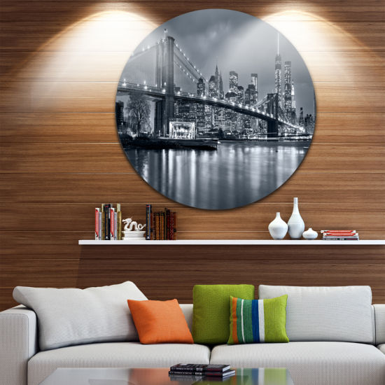 Design Art Panorama New York City at Night Ultra Vibrant Cityscape Metal Circle Wall Art