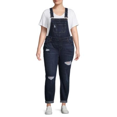 Blue Spice Destructed Overalls-Juniors Plus
