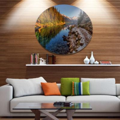 Design Art Placid Lake between Mountains LandscapeMetal Circle Wall Art