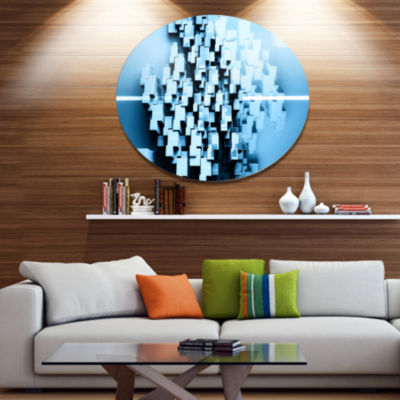 Design Art Blue 3D Cubes Fractal Design Abstract Metal Circle Wall Art Print
