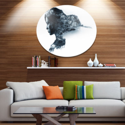 Design Art Woman Portrait Double Exposure PortraitMetal Circle Wall Art