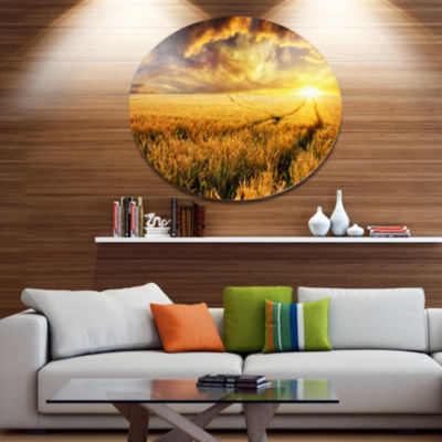 Design Art Amazing Sunset over Yellow Field Landscape Metal Circle Wall Art