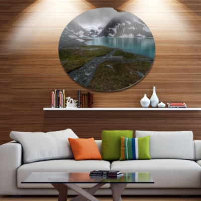 Design Art Turquoise Mountain Lake with Clouds Landscape Metal Circle Wall Art