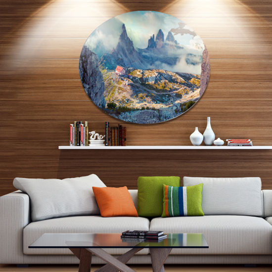 Design Art Beautiful Lacatelli in National Park Large Landscape Metal Circle Wall Art