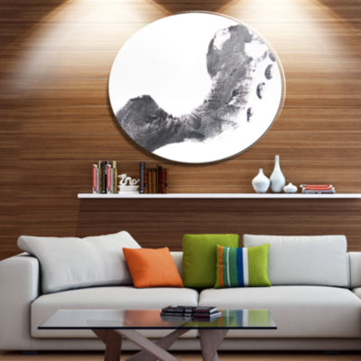 Design Art Black and White Footprint Design Portrait Metal Circle Wall Art