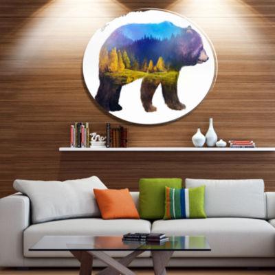 Design Art Bear Double Exposure Illustration LargeAnimal Metal Circle Wall Art