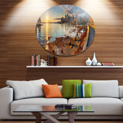 Design Art Vancouver Downtown Panorama Landscape Metal Circle Wall Art