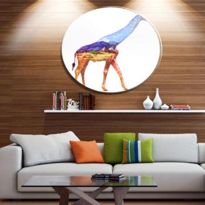 Design Art Giraffe Double Exposure Illustration Large Animal Metal Circle Wall Art