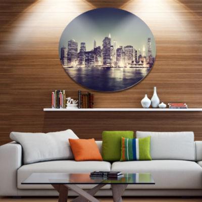 Design Art Black and White NYC Night Panorama Extra Large Metal Circle Wall Art