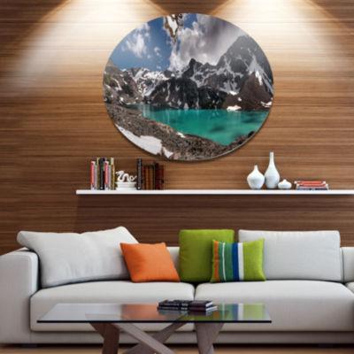 Design Art Distant Mountains and Mountain Lake Landscape Metal Circle Wall Art