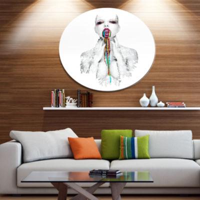 Design Art Woman With Creative Bright Make Up Portrait Circle Metal Wall Art