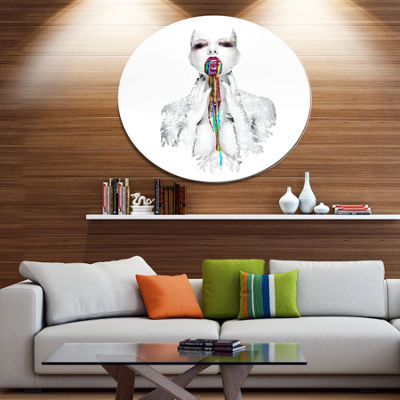 Design Art Woman With Creative Bright Make Up Portrait Circle Metal Wall Art