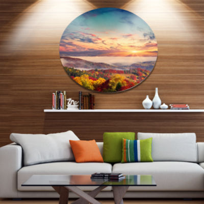 Design Art Colorful Sunset in Foggy Mountains Large Landscape Metal Circle Wall Art