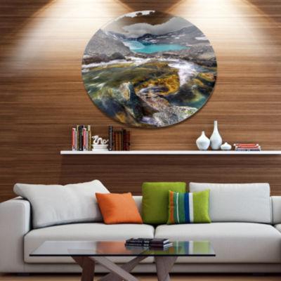 Design Art Mountain Creek Flowing into Lake LargeLandscape Metal Circle Wall Art
