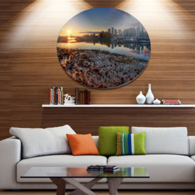Design Art Vancouver Downtown in Morning Extra Large Landscape Metal Circle Wall Art