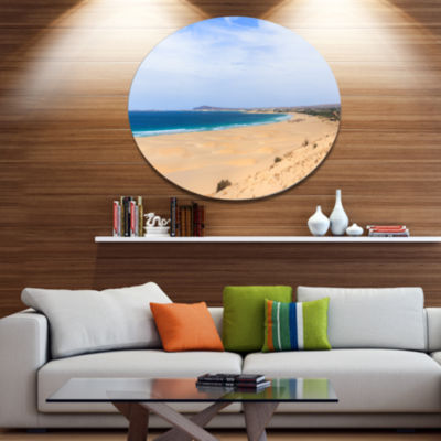Design Art Sea and Clouds in Blue Sky Seashore Metal Circle Wall Art
