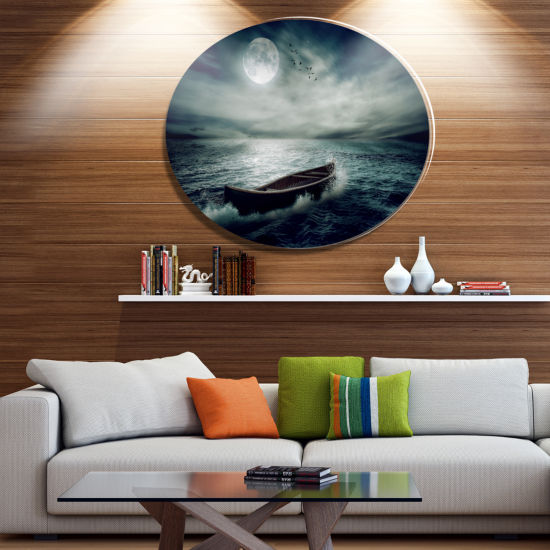 Design Art Boat Drifting Away After Storm SeashoreMetal Circle Wall Art