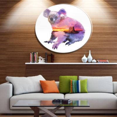 Design Art Koala Double Exposure Illustration Large Animal Metal Circle Wall Art