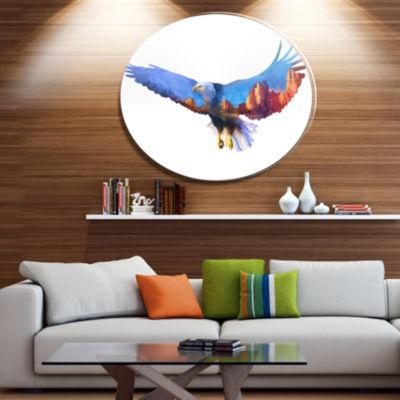 Design Art Eagle Double Exposure Illustration Large Animal Metal Circle Wall Art