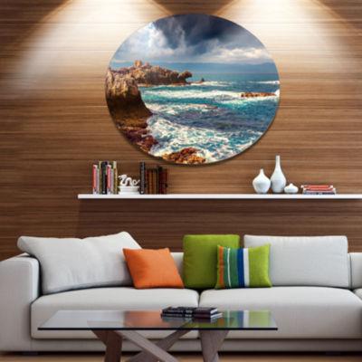 Design Art Volcanic Beach Stormy Weather SeashoreMetal Circle Wall Art