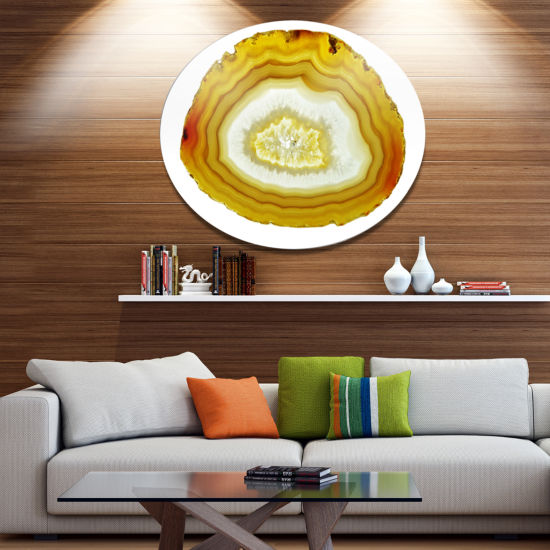 Design Art Yellow Agate with Geological Crystal Large Abstract Metal Artwork