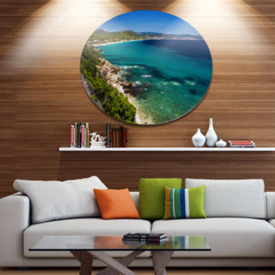Design Art Beautiful Greek Beach of Sea Seashore Metal Circle Wall Art