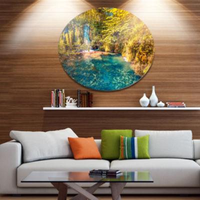 Design Art Plitvice Lakes National Park Large Landscape Metal Circle Wall Art