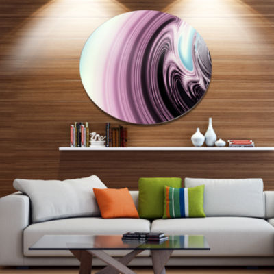 Design Art Unique Purple Fractal Art Pattern Abstract Metal Circle Wall Art Print