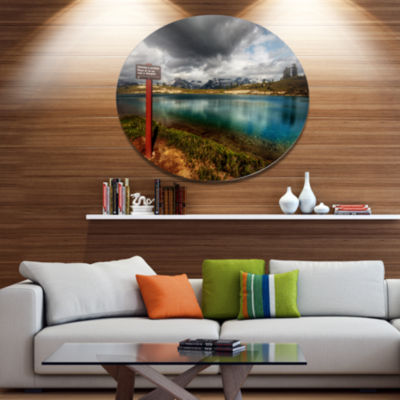 Design Art Azure Mountain Lake with Clouds Landscape Metal Circle Wall Art