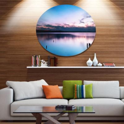 Design Art Sunset Over Lake Blue Everywhere Seashore Metal Circle Wall Art