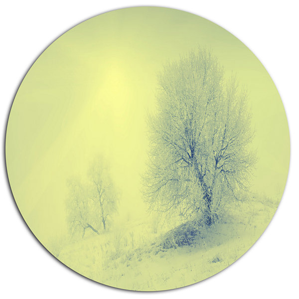 Design Art Beautiful Winter Snow Valley Large Landscape Metal Circle ...