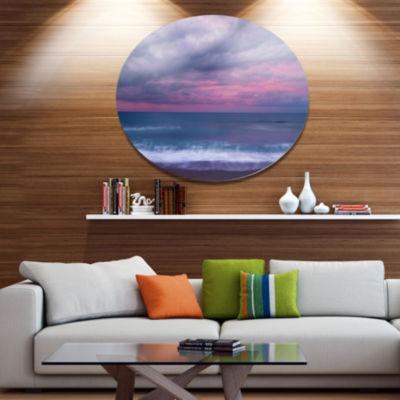 Design Art Blue and Pink Unset over Sea Seashore Metal Circle Wall Art