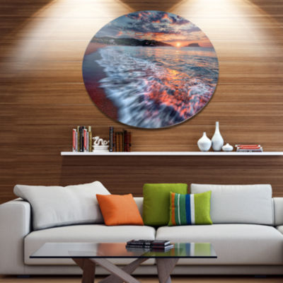 Design Art Calm Seashore with Rushing Waters Seashore Metal Circle Wall Art