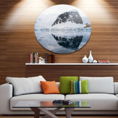 Design Art Snowcap Hill in Antarctica Seashore Metal Circle Wall Art
