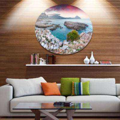 Design Art Nature Reserve Monte Cofano Landscape Metal Circle Wall Art