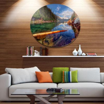 Design Art Floating Lake in Mountain Lake Large Landscape Metal Circle Wall Art