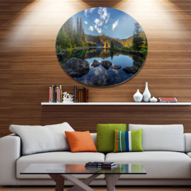 Design Art Mountain Lake Surrounded by Trees Landscape Metal Circle Wall Art