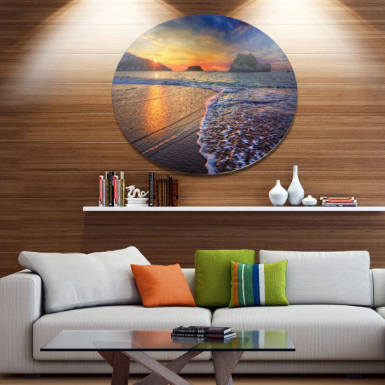 Design Art Sandy Beach with Rush Waves Seashore Metal Circle Wall Art