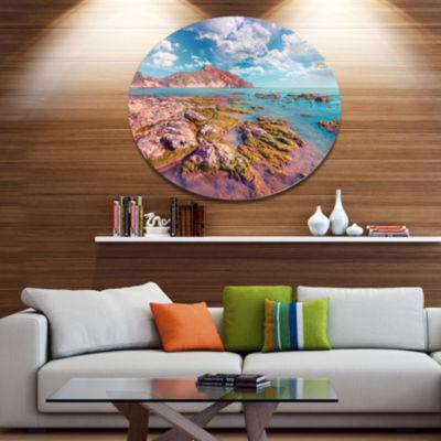 Design Art Morning on the Giallonardo Beach Seashore Metal Circle Wall Art