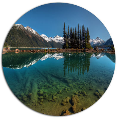 Design Art Row of Pine Trees and Mountain Lake Landscape Metal Circle Wall Art