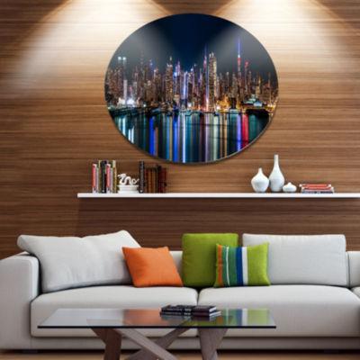 Design Art New York Midtown Night Panorama Extra Large Metal Circle Wall Art