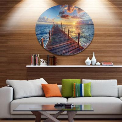 Design Art Beautiful Sunset over Sea Pier Metal Circle Wall Art