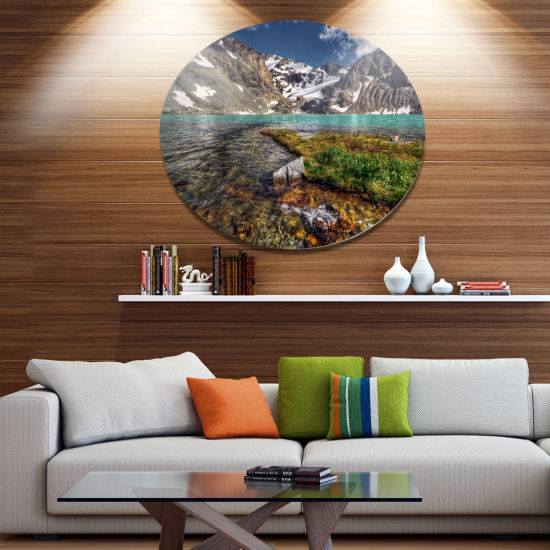 Design Art Crystal Clear Creek in Mountains LargeLandscape Metal Circle Wall Art