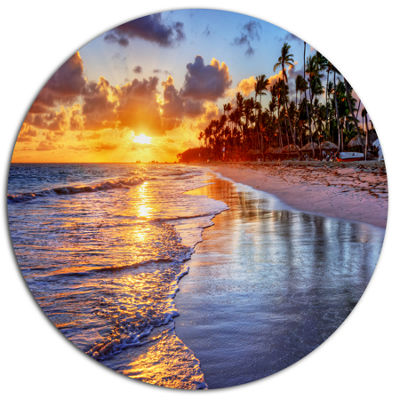 Design Art Beach Side Resort With Palm Trees Seashore Metal Circle Wall Art