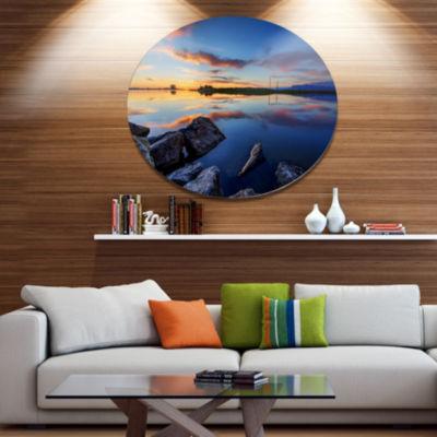 Design Art Beautiful Calm Water and Sunset Large Landscape Metal Circle Wall Art