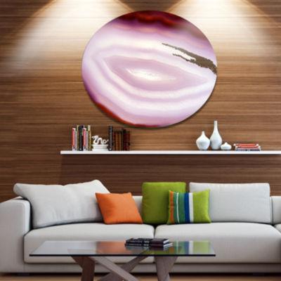 Design Art Pink Agate Geode Geological Crystals Large Abstract Metal Artwork